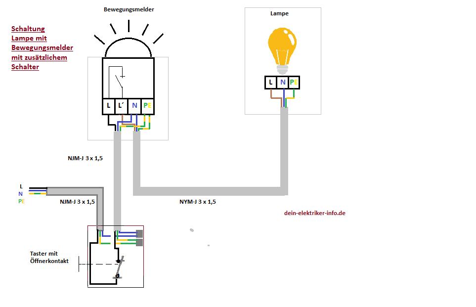 lampe mit bewegungsmelder anschlie en clevere elektroinstallation und haustechnik. Black Bedroom Furniture Sets. Home Design Ideas